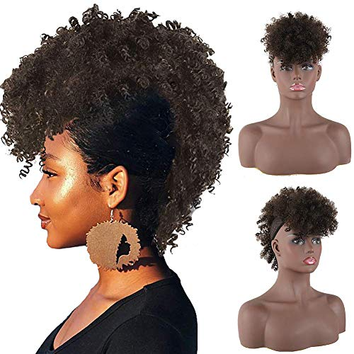 CINHOO Jerry Curls Mohawk High Puff Hair Bun Ponytail Drawstring With Bangs Synthetic Fauxhawks Afro High Puff Kinkys Curly Pony Tail Clip in on Wrap Updo Hair Extensions for Women (4#)