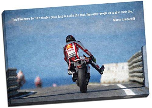 Stampa su tela di Marco Simoncelli, motociclista di Moto GP, 76,2x 50,8cm, con scritta in lingua inglese