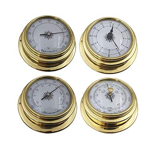 Tongdejing Mini termómetro higrómetro de 4 Piezas, Juego de estación meteorológica montada en la Pared, Reloj barómetro, Mini termómetro, Accesorio higrómetro