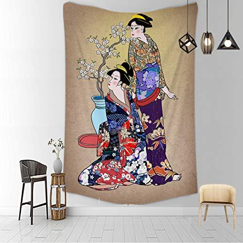 CNYG Manta psicodélica Kanagawa Wave Print Suspensión Manta Colgante de Pared Cama Bohemia Colgante de Pared Decoración del hogar Tapiz de Dormitorio BBBB 150x130CM
