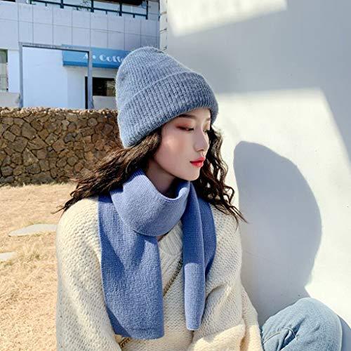 ECSWP MZWJTJKD Bolsa de Invierno Sombrero de Punto Sombrero 2pcs Set para Mujeres Gorros Gorros cálidos Gruesos Orejas Sombrero de Punto Gorra de esquí al Aire Libre (Color : Blue)