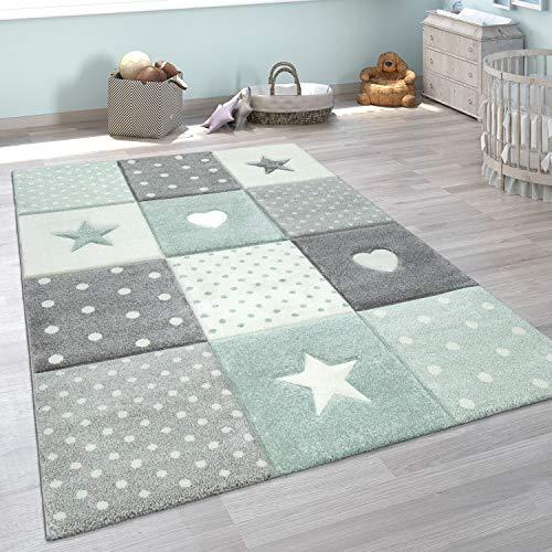 Paco Home Kinderteppich Kinderzimmer Kariert Punkte Herzen Sterne In Pastell Grün Grau, Grösse:140x200 cm