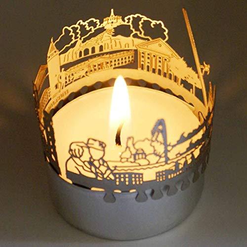 13gramm Kassel-Skyline Windlicht Schattenspiel Souvenir, 3D Edelstahl Aufsatz für Kerze inkl. Karte