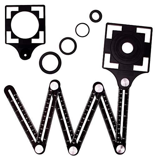 Winkelschablone Template Tool ,6 sides Multi-angle Winkelmesser Lineal Metall Winkel Werkzeug Verstellbarer Konturenlehre Schablonen Messgerät für Tischler Fliesenleger Pflastern Loch