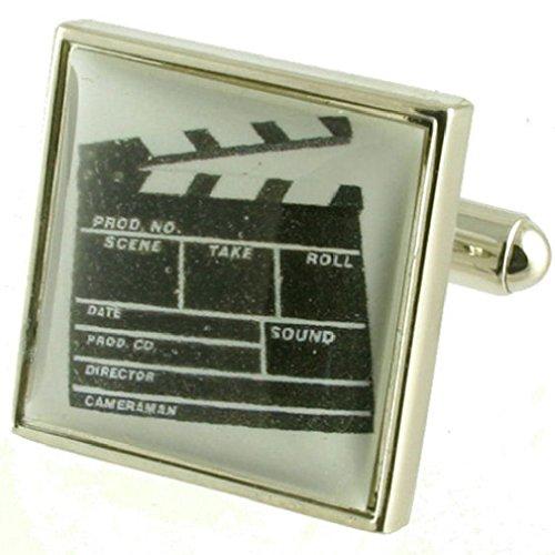 Réalisateur Clap cinéma Taille Boutons de manchette Boutons de manchette pour hommes en argent massif 925 + Boîte Message gravé personnalisé gratuit