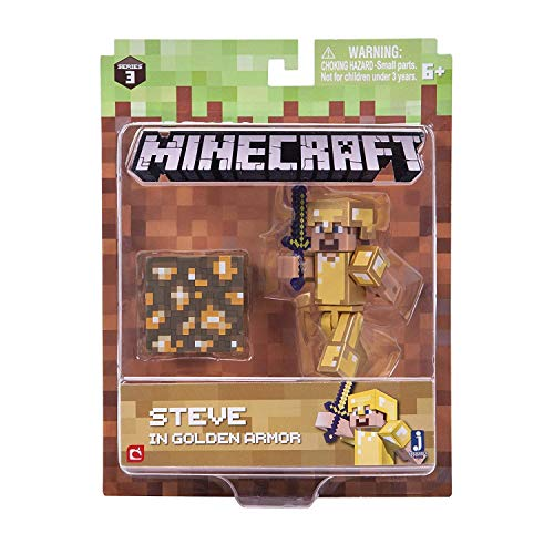 Minecraft 16488 - Figura de acción de 7,62 cm – Steve in Gold Armour Pack