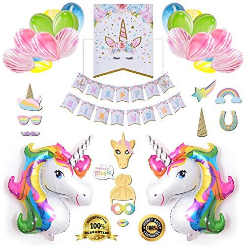 Unicorn Birthday Party Supplies | Unicorn Birthday Party Decorations for Girls | Unicorn Party Balloons Favors for Girls | 3D Realty Unicorn Balloons - Selfie Mask - Happy Birthday Banner - 50Pcs Set
