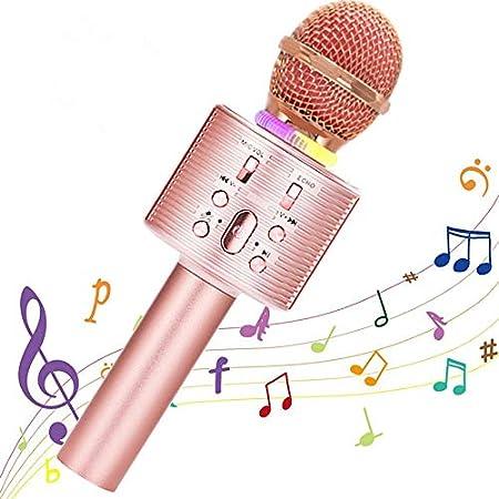 Micrófono Karaoke Bluetooth, Portátil Inalámbrica Micrófono y Altavoz del Karaoke con LED para Niños Canta Partido Musica, el Hogar KTV, Compatible con Teléfono PC, Tabletas