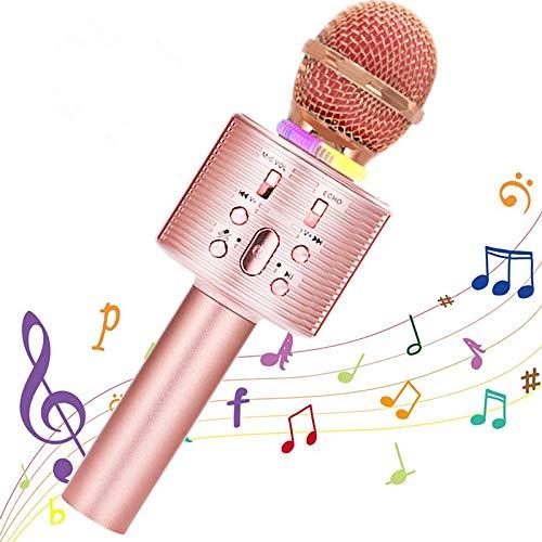 Micrófono Karaoke Bluetooth, Portátil Inalámbrica Micrófono y Altavoz del Karaoke con LED para Niños Canta Partido Musica, el Hogar KTV, Compatible con Android/iOS PC, Tabletas