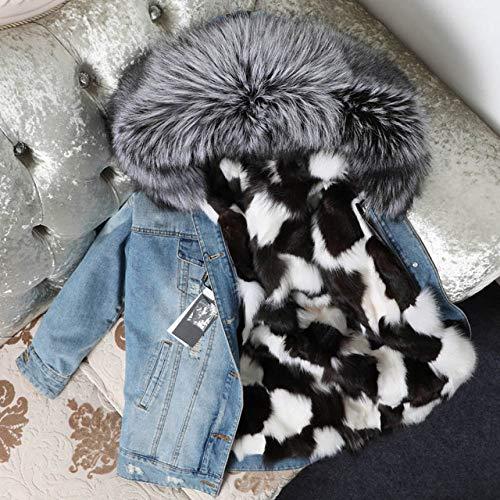 IHCIAIX Damen Daunenjacke,2020 Neue Jeansjacke Jacke Mantel für Frauen Mantel Street Fashion Mode dick und warm, schwarzweiß Silberfuchs, M.