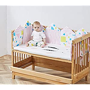 6PC/8PC Boys Girls Crib Bedding Liner Protector Bed Cradle Safety Rail Guard Cover, Thicken Padded Bed Protection Sleep Pillow, Crib Rail Protector Cover, Nursery Decor Newborn Gift