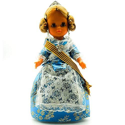 Folk Artesanía Muñeca Regional colección 35 cm Vestido típico Gala Valenciana o Fallera Fallas Valencia España, Nueva y Original. (Azul)