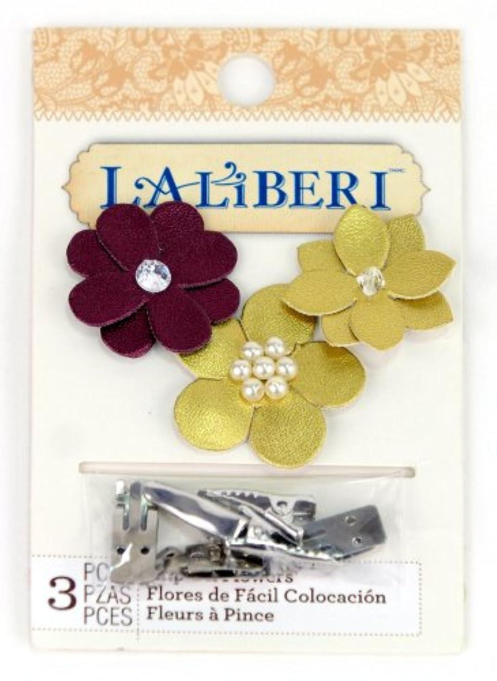 Simplicity EK Success Brands Laliberi Flower Clips, Plum and Gold Trio