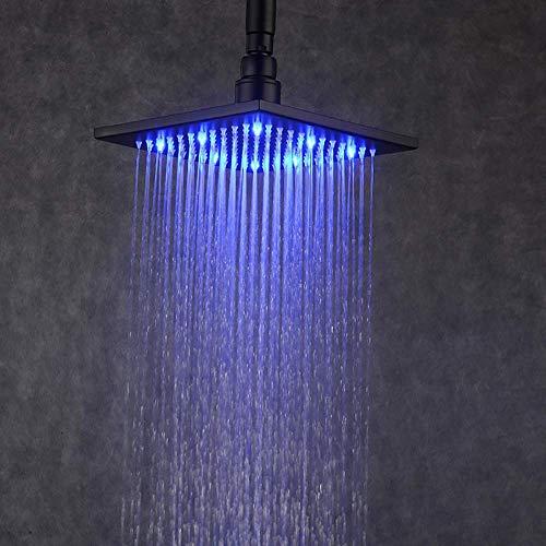 BJLWTQ LED cabezal de ducha de lluvia, de 8 pulgadas cabezal de ducha cuadrado de pulverización superior del sensor de temperatura 3 colores chaning, acero inoxidable, montado en la pared