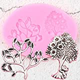 CSCZL Moldes de Silicona de árbol de la Vida, Herramientas de decoración de tortas con Fondant, Rama de Hoja de Flores, joyería de Arcilla polimérica, moldes de Pasta de Goma de Chocolate y Caramelo