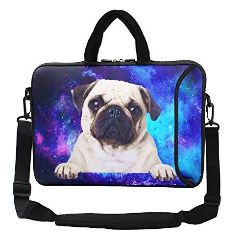 """Violet Mist 13""""15""""15.6""""Neoprene Laptop Sleeve Bag Waterproof Sleeve Case Briefcase Pouch Bag Adjustable Shoulder Strap External Pocket for Men Women(11'12'13'-13.3',Galaxy Pug)"""