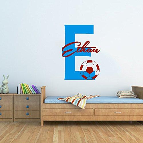 Sticker mural en vinyle Motif nom garçons personnalisée Nom Stickers Soccer Football Sport Decor Papier peint pour enfant Motif nom garçons chambre