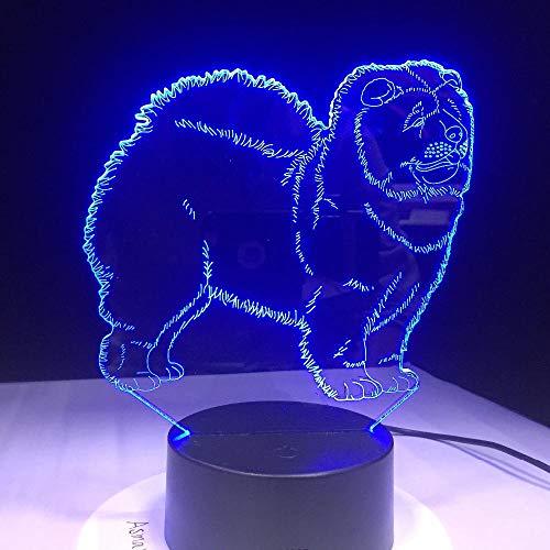 Preisvergleich Produktbild XDWC Nachtlicht Kinder Nachtlicht 3D Optische Täuschung 16 Farben Ändern Chow Chow Dog Lampe Nachtlicht Kid Toy Touch Tischlampe Farben Blinklicht Weihnachtsschmuck Für Zuhause Nachtlicht Kinder 3D O
