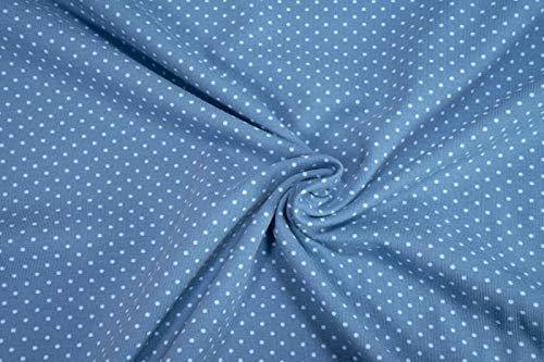 mollipolli-Stoffe Jersey Little Darling hellblaue Mini Punkte auf Mittelblau Baumwoll Jersey 0,5m