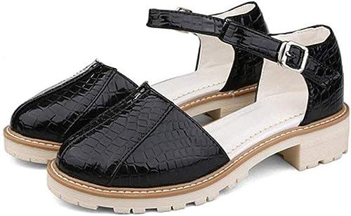 BAIF Chaussures pour Femmes été Boucle Tête Ronde Confort, Shopping Travail école, 4cm, 34-41