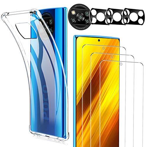 Luibor [7 in 1] für Xiaomi POCO X3 NFC Panzerglas +Kamera Panzerglas + POCO X3 NFC Hülle,Soft TPU Bumper Hülle,Unterstützt Blitzaufnahmen,9H Härte, HD Klar Display