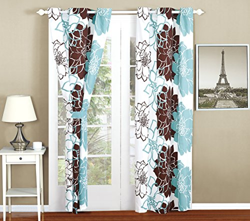 All American Collection New 4pc Flower Printed Curtain Set for Reversible Bedspread Set (Panel, Turquoise/Brown)