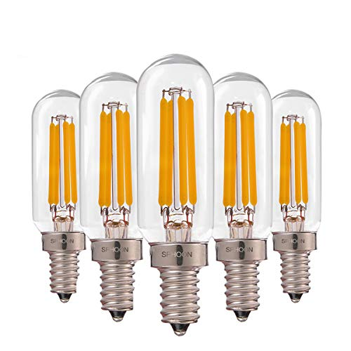 T25 4W Tubular LED Bulb,Edison LED Filament Pendant Lighting, Vintage E12 Candelabra Base LED Light,40w Incandescent Replacements,Warm White 2700K, Dimmable Night Light Bulbs,5 Pack