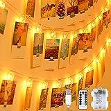 Cadena de luces LED para fotos, 20 clips para fotos, 8 modos, con mando a distancia, USB o pilas, para habitación, marco de fotos, decoración, salón, interior, casa, boda, fiesta, blanco cálido