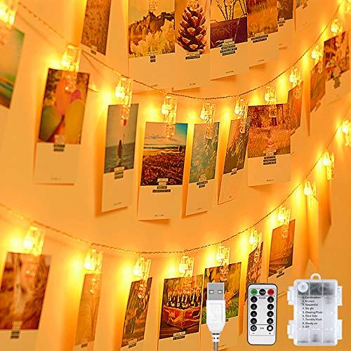 LED Fotoclips Lichterkette, 20 Foto-Clips 8 Modi Mit Fernbedienung USB oder Batteriebetrieben Lichterketten für Zimmer Bilderrahmen Dekoration Wohnzimmer innen Haus Hochzeit Party-Warmweiß