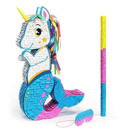 Mermicorn Pinata Bundle with a Blindfold and Bat ― Perfect Sized Pinata For Birthday Parties, Kids Carnival and Related Events ― Can Hold Up to 5 lbs of Candy ― Patent Pending (15 x 11 x 3 Inches)