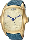 Invicta Men's Lupah Stainless Steel Automatic-self-Wind Watch with Leather Calfskin Strap, Blue, 25 (Model: 24030)