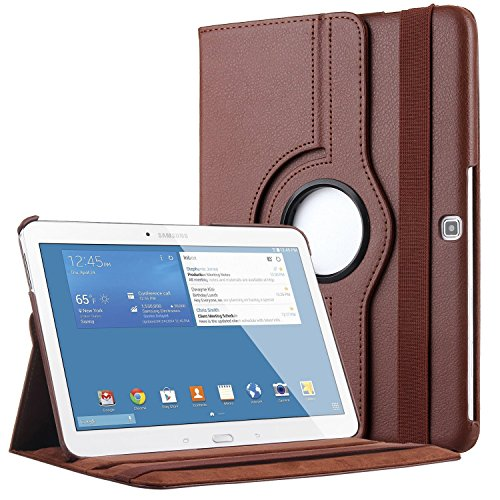Kingsource 360 Rotating Stand Cover Wake & Sleep Function PU Leather Case Compatible for Samsung Galaxy Tab 4 10.1 (SM-T530NU) Color Brown