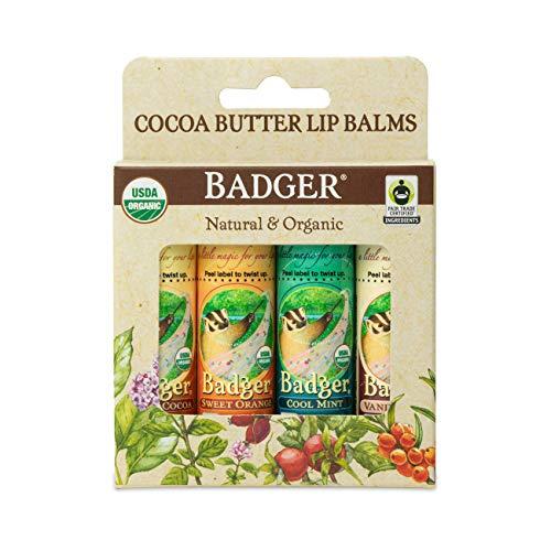 Badger  Cocoa Butter Lip Balm Set Fair Trade Certified Organic Lip Balm Natural Lip Balm Lip Butter Flavored Lip Balm Cocoa Vanilla Orange Mint 025 oz 4 Pack