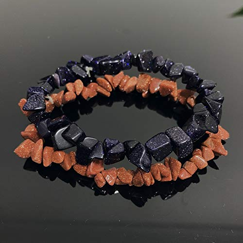IENPAJNEPQN Las Pulseras de Cuarzo Pulseras Mujeres Hombres Pulsera de Reiki Nuggets Mineral Azul Goldstone Chips Cuentas de Piedras meditación joyería (Color : Goldstone)