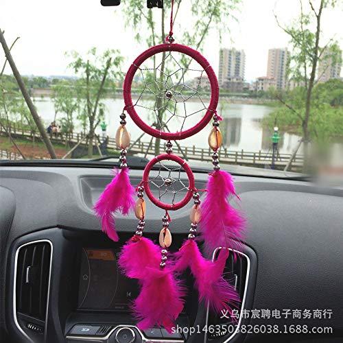 Dreamcatcher Droomvanger met twee ringen, auto hangen, windbel bedeltje roosrood