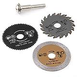 Paquete de 3 piezas 54.8 mm HSS Mini hoja de sierra circular hoja de corte herramienta rotativa Disco de corte para cortar madera y mandril