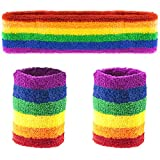 TRIXES Rainbow Sports Headband and Sweatband – One Adult Size Unisex – Exercise Fun Sport Runs- Pride Events