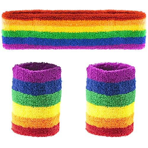 TRIXES Rainbow Stirnband und Schweissband für Erwachsene Größe Unisex Armband Stirnband in den Regenbogenfarben ideal beim Sport und für LGBT Events