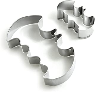 BronaGrand Batman Cookie Cutters Set Stainless Steel Mold (Set of 2), Silver