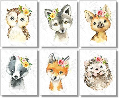 Woodland Animals Wall Art Prints - Nursery Decor - Set of 6-8x10 - Unframed - Watercolor