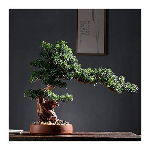 LJXLXY Plantas Artificiales Árbol Bonsai Falso Árbol de rododendro Artificial Faux Bonsai Tree Faux Potted Planched Pipbles, Green, Decoración del hogar Regalos Planta de casa (Color : B)