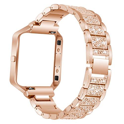 AISPORTS Fitbit Blaze Armband mit Rahmen, Edelstahl Strass Glitzer Smart Watch Ersatzarmband Armband für Fitbit Blaze Fitness Zubehör rose gold