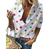 Camisa Delgada de Manga Larga con Estampado de Lunares de Primavera y otoño Camiseta de Mujer