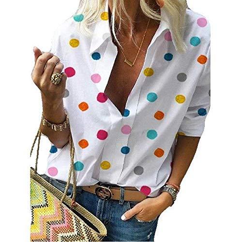 camicia donna jeans estiva Derrick Aled(k) zhuke T-Shirt da Donna Manica Lunga Manica Lunga Stampata a Pois Primavera e Autunno