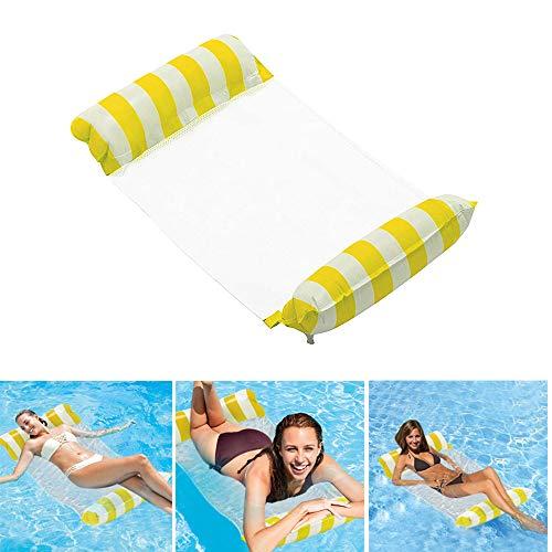 Aufblasbare Pool-Hängematte, schwimmende Lounge, Drifter und Sattel 4 in 1, Premium Wasser Hängematte für Erwachsene für Schwimmpartys (Gelb)