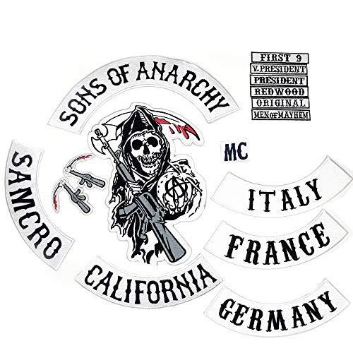 Sons of Anarchy Patch zum Aufnähen, 100% identisch mit dem Original und es gibt Germany, France, und Italy patches