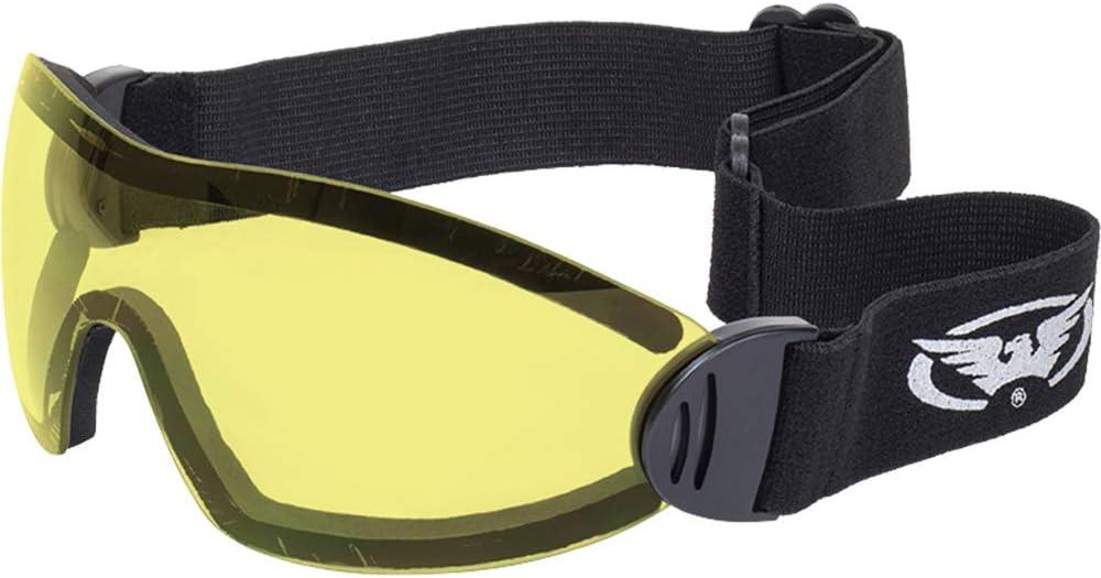 Global Vision llamarada visión panorámica conductores de motocicletas marco negro gafas con lentes amarillas