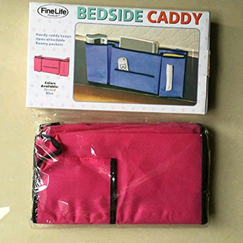 Lecent@ Bedside Caddy Storage Organizer- for Books/Phones/Tablets/Accessory and TV Remote - Best for Headboards/Bed Rails/Dorm Rooms/Bunk Beds/Apartments and Bathrooms