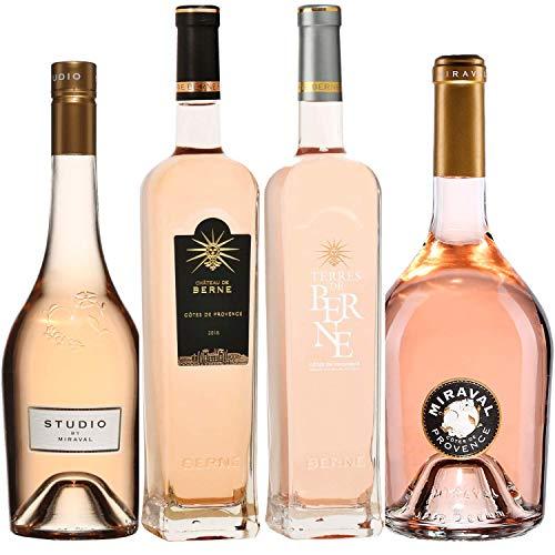 Best of Provence - Lot de 4 bouteilles - Berne : Château/Terre - Miraval : Studio/Jolie-Pitt - Côtes de Provence Rosé 2019 (4 * 75cl)