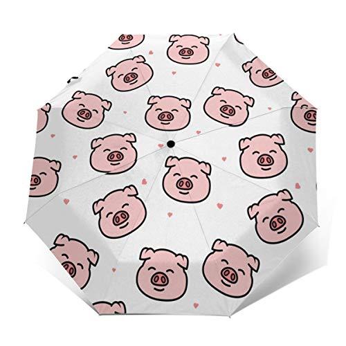 Pig Auto Open/Close Compact Folding Umbrella Windproof Rainproof Travel Umbrella